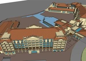 西班牙风格酒店SU(草图大师)模型2