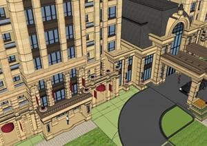 法式小区会所+高层住宅建筑方案SU(草图大师)模型