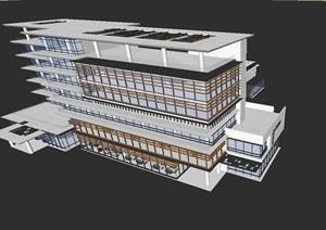 現代風格中奧企業辦公會所SU(草圖大師)模型