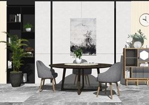 現代風格餐桌椅組合 背景墻SU(草圖大師)模型