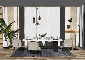 現代餐桌椅組合背景墻裝飾品盆栽SU(草圖大師)模型