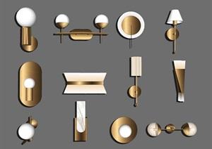 现代壁灯 灯具组合SU(草图大师)模型1