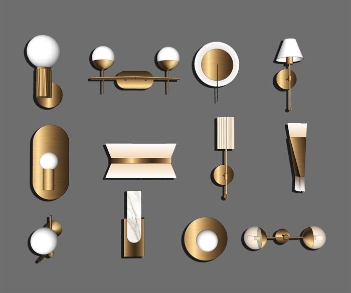 現代壁燈 燈具組合su模型1(3)