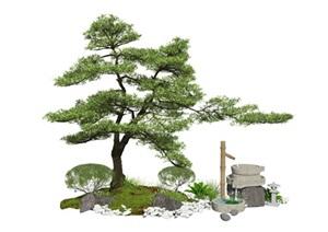新中式景观小品庭院景观跌水景观石磨植物石头水景SU(草图大师)模型