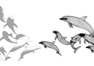 海豚雕塑動物雕塑海豚鏤空雕塑SU(草圖大師)模型