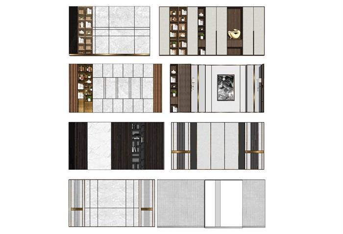 現代背景墻裝飾柜電視背景墻SU模型(1)