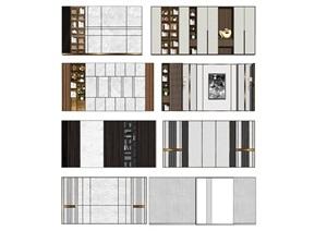 現代背景墻裝飾柜電視背景墻SU(草圖大師)模型