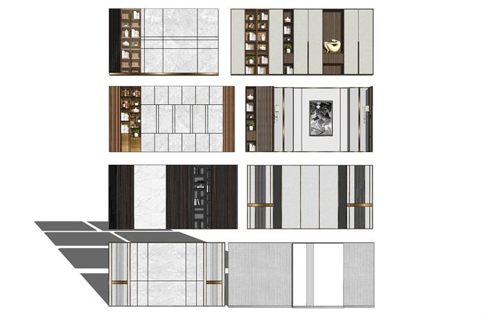 現代背景墻裝飾柜電視背景墻SU模型(2)