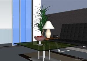 简单的客餐厅组合设计SU(草图大师)模型