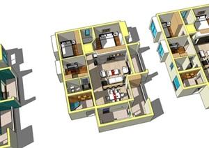 简约风格居家室内住宅设计SU(草图大师)模型