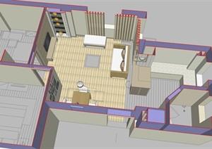 简约好看的客餐厅室内设计SU(草图大师)模型