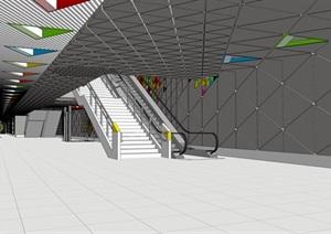 现代风格商场节点设计SU(草图大师)模型