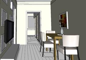 简单的餐厅卧室室内设计