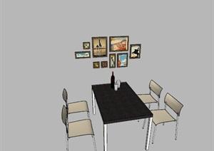 精美的餐桌 挂画单体SU(草图大师)模型
