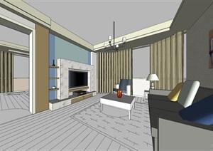 现代简约风格室内装饰设计SU(草图大师)模型