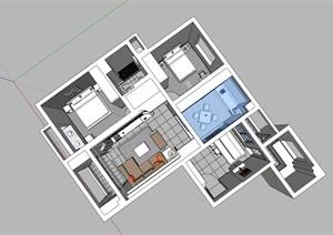 现代精美风格住宅室内SU(草图大师)模型