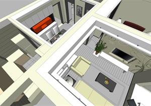 室内简约风格住宅装设计SU(草图大师)模型