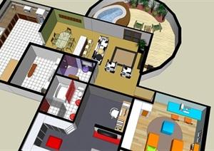现代风别墅带大露台模型