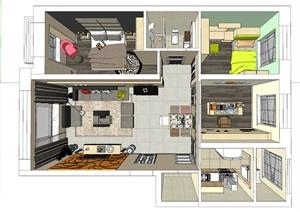 现代欧式简约风格室内设计模型