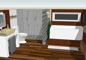 精美的古典风格卫生间模型