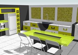 现代小清新风格开放式厨房餐厅设计方案