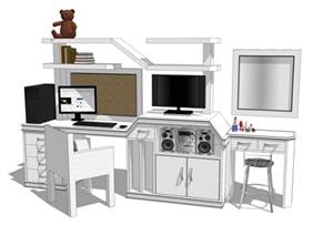 精细的组合办公桌单体设计