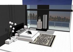 现代北欧风卧室单体设计