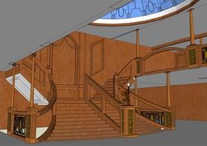 木质古典风格酒店设计SU(草图大师)模型