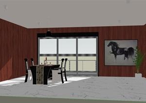 新古典风格餐厅室内设计SU(草图大师)模型