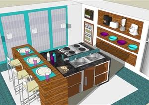日式餐厅厨房组合设计SU(草图大师)模型