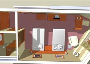 小清新标间单体室内设计