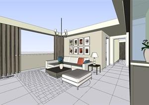 现代简约风格小户型室内设计SU(草图大师)模型
