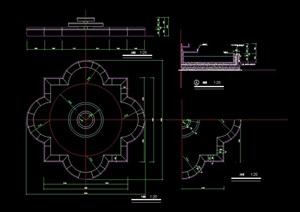 独特详细的完整水渠花池素材设计cad施工图