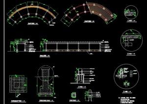 独特完整的详细花架设计cad施工全套图