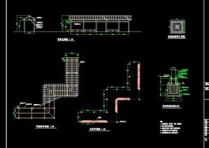 园林景观独特廊花架设计cad施工图