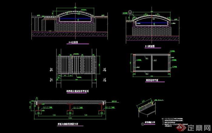 中式風格單跨鋼木混材拱橋cad施工圖