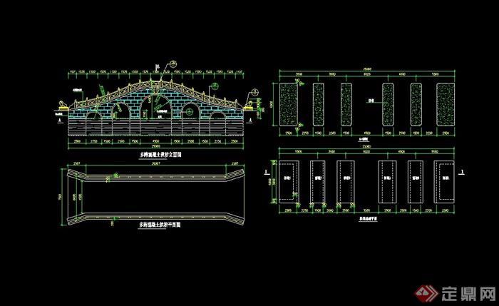 古典中式4多跨混凝土拱橋設計cad施工圖