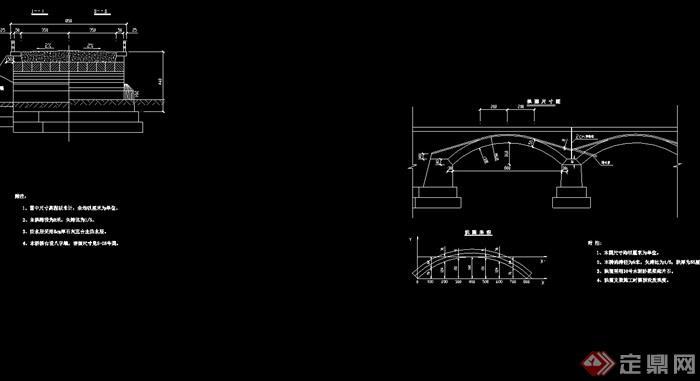 獨特詳細的完整拱橋素材cad施工圖