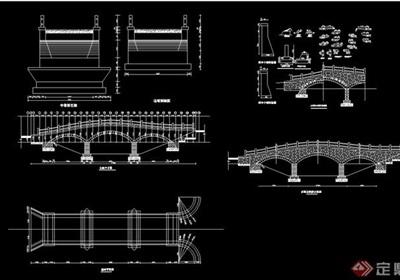 中式3多跨石拱橋設計cad方案
