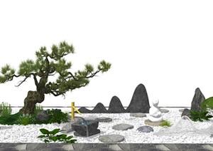 新中式庭院景观小品 景观树 石头SU(草图大师)模型