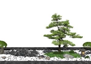 新中式庭院景观 景观小品 景观树 石头 鹅卵石SU(草图大师)模型