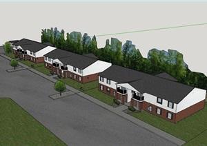 两层完整的欧式别墅详细建筑设计SU(草图大师)模型