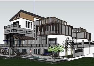 中式完整的独特别墅详细建筑设计SU(草图大师)模型