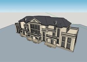 双拼欧式风格别墅详细建筑设计SU(草图大师)模型