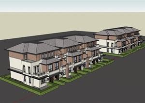 欧式风格联排别墅详细建筑设计SU(草图大师)模型
