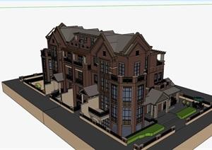 完整的欧式别墅详细建筑设计SU(草图大师)模型