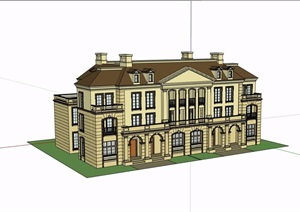 整体详细的完整别墅详细建筑设计SU(草图大师)模型