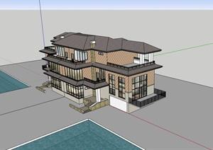 双拼三层欧式别墅详细建筑设计SU(草图大师)模型