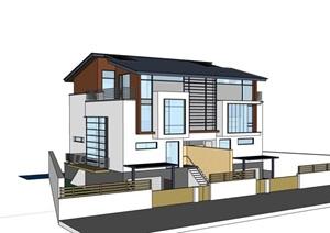 中式双拼别墅详细建筑设计SU(草图大师)模型