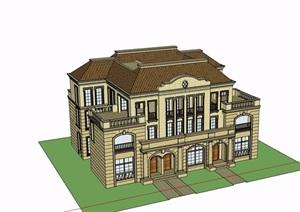 三层欧式风格完整的别墅详细建筑设计SU(草图大师)模型